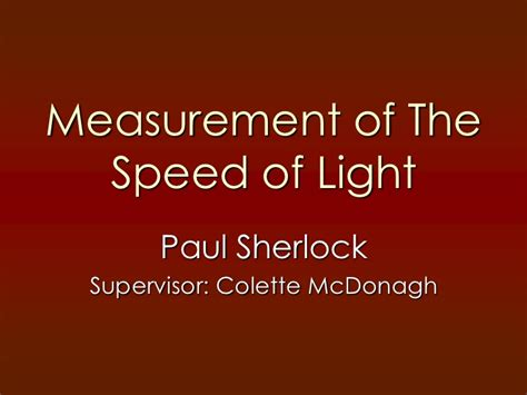 measurement of the speed of light