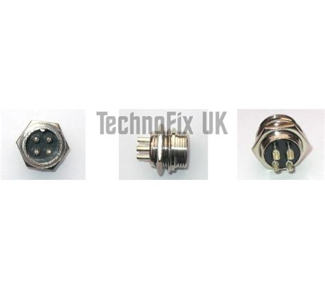 4 pin microphone connector locking chassis panel socket gx16 4 technofix uk