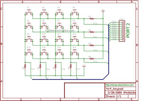 4x4 matrix keypad circuit schematic get free image about