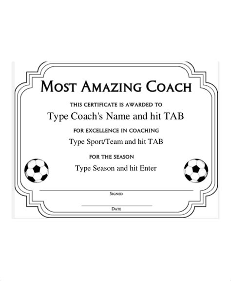 Football Templates For Coaches by Coach Certificate Template 7 Free Word Pdf Documents