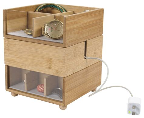 Dresser Organizers by Bamboo Stackable Tabletop Valet With Phone Cradle