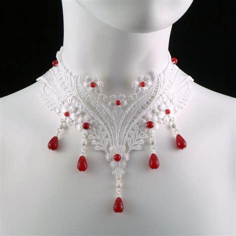 Gemstone Lace Choker white lace choker necklace with rubies gemstones