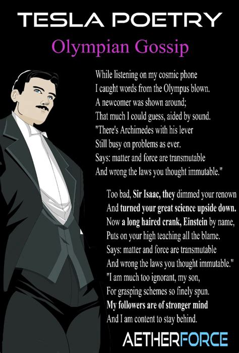 Nikola Tesla Poems Einstein S Fraud Clearly Rankled Tesla So Much So That He