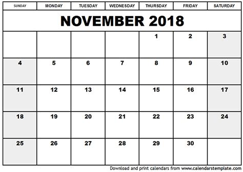 printable calendar 2018 microsoft office november 2018 calendar template 2018 calendar printable