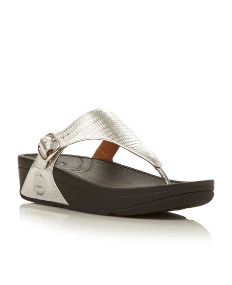 buckle sandals fitflop leather toe flat buckle sandals in