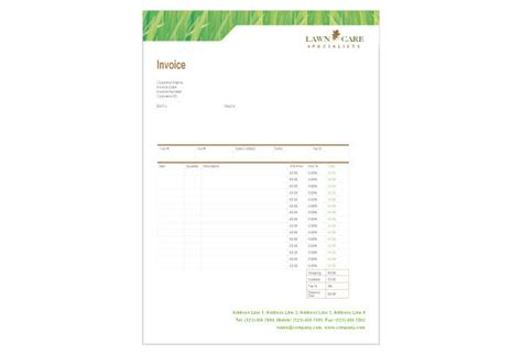 lawn mowing invoice template free lawn care mowing print template pack from serif