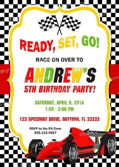 Race Race Card Template by Race Car Birthday Invitation Printable Race Car
