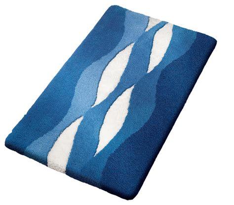 Navy blue modern non slip washable bathroom rug cloud modern bath mats by vita futura
