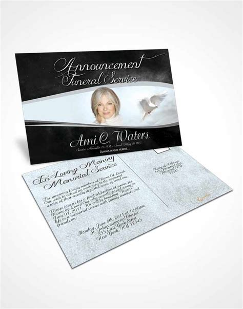 funeral announcement template cards bifold order of service obituary template brochure black