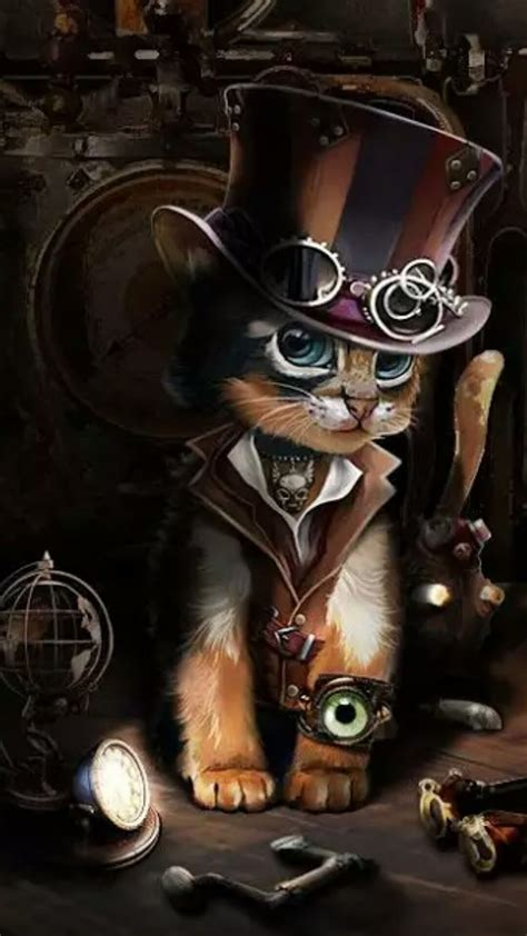 pin  laura popa  images  decor steampunk cat