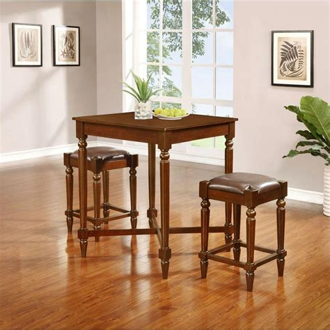 linon home decor linon home decor tremaine 3 piece walnut bar table set