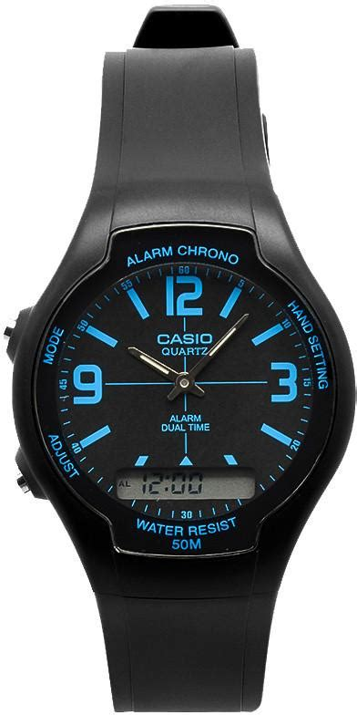 Casio Aw 90h 2bv casio aw 90h 2bv black blue digital analog gold 50m wr stopwatch great watches