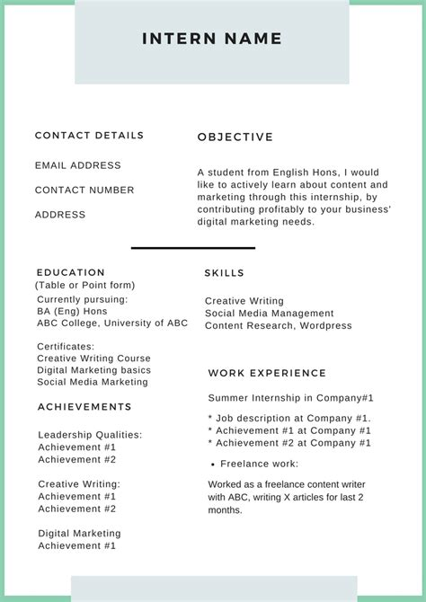 Intern Resume Template by How To Write An Irresistible Intern Resume Complete Guide