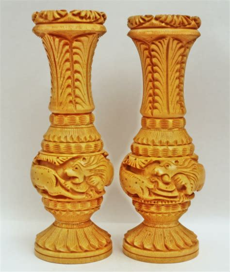 Wooden Flower Vase by Handmade Wooden Carving Matka Flower Vase Pair Nandi Arts