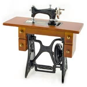 antique black sewing machine table dollhouse miniature