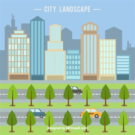 flat design wallpaper vector modern city with skyscrapers in flat design background