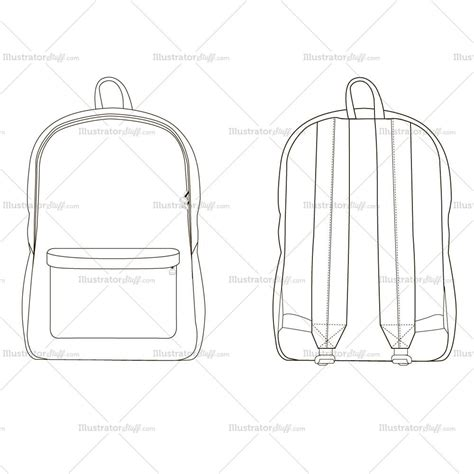 illustrator pattern outline backpack fashion flat template illustrator stuff