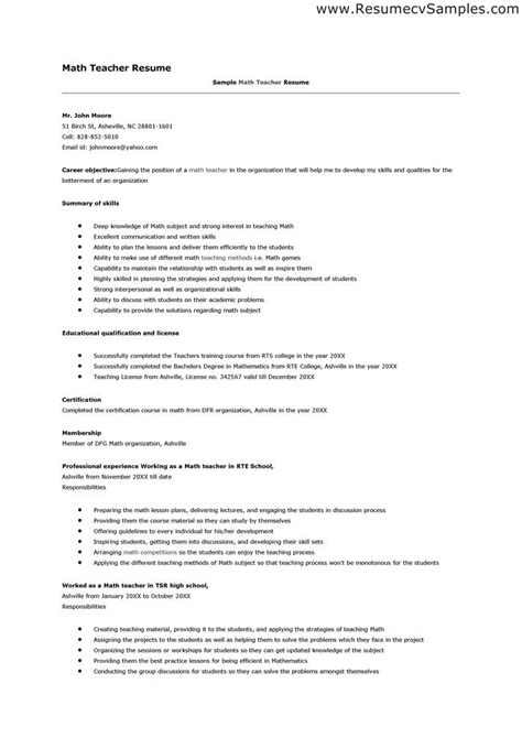 mathematics teacher resume best resume collection