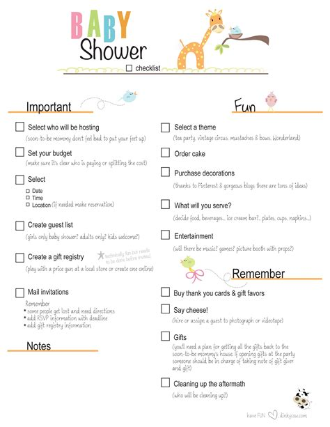Free Printable Baby Shower Checklist Paste The Link Below Into Your Address Bar For The Baby Shower Checklist Template