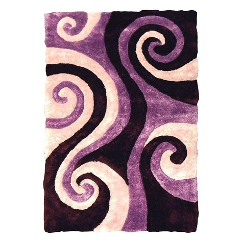 Swirl Area Rug by Donnieann 3d Shaggy Abstract Swirl Design Purple 5 Ft X 7
