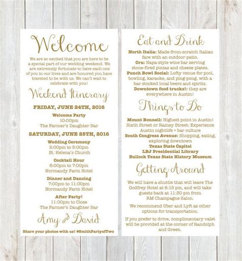 Wedding Itinerary Template For Out Of Town Guests Seven Wedding Welcome Note Template