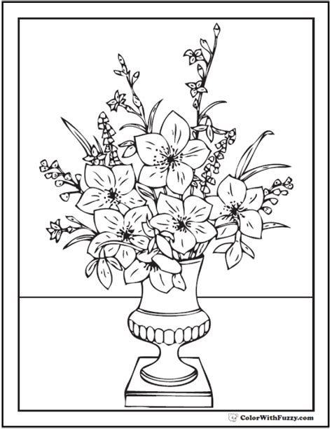 Flowers In Vase Coloring Pages by 102 Flower Coloring Pages Customize And Print Pdf