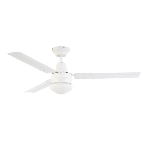 arlec 120cm white 3 blade ceiling fan with oyster light
