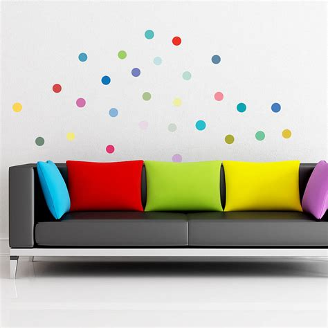 dots wall stickers multicoloured polka dot wall sticker set by oakdene