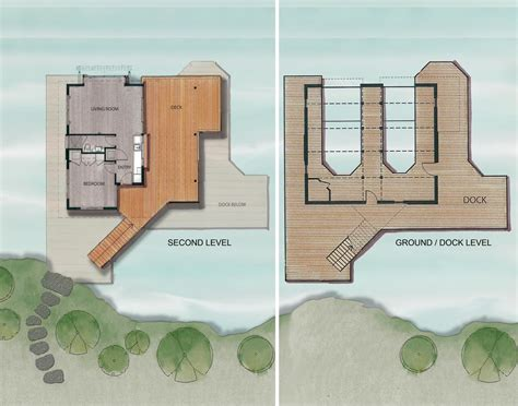 Lake House Blueprints Ground Dock Second Level Plan Boathouse Renovation And