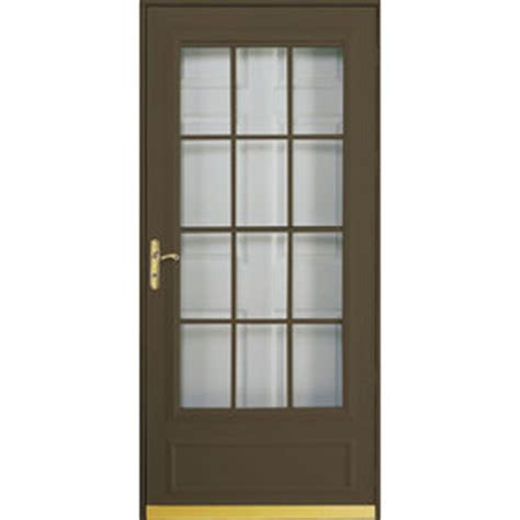 pella retractable screen door shop pella cheyenne brown mid view safety wood core retractable screen storm door common 36 in