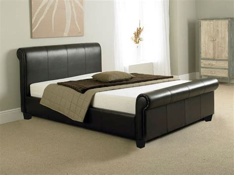 Leather Sleigh Bed Tuscany 4ft6 Bed Or King Size Leather Sleigh Bed Memory Foam Mattress Ebay