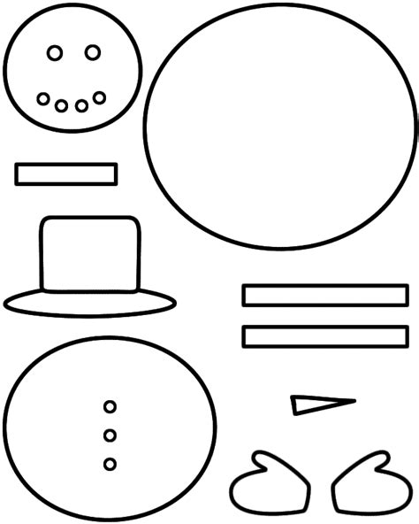 snowman cut out template snowman paper craft black and white template
