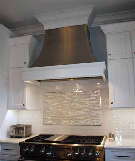 small white kitchen with steel hood up to the minute kitchen ideas metal range hoods