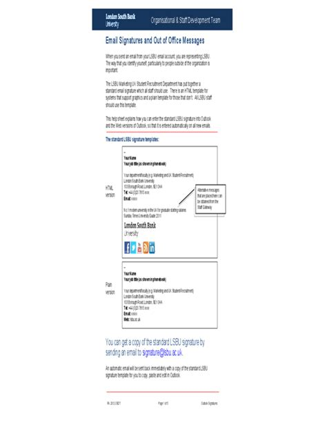 out of office template sle signatures and out of office messages free