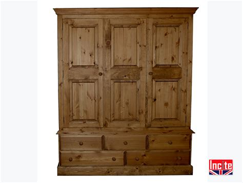 solid pine wardrobe with drawers handmade by incite