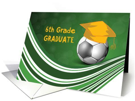 6th Grade Graduation, Soccer Ball and Hat card (1353164)