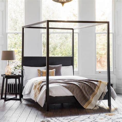 black four poster bed frame black boho four poster bed by the forest co
