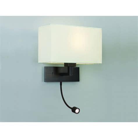 bronze wall light with white fabric shade and led reading