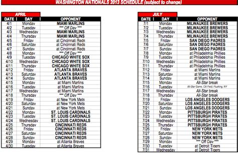 printable schedule nationals washington nationals announce 2013 schedule federal