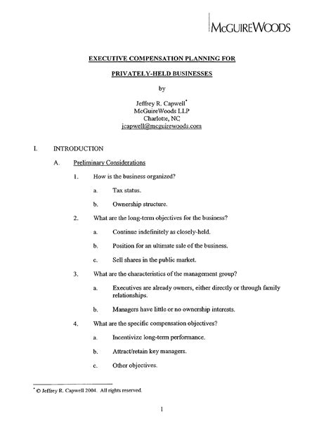 Download Executive Compensation Plan Template For Free Page 12 Formtemplate Executive Compensation Template