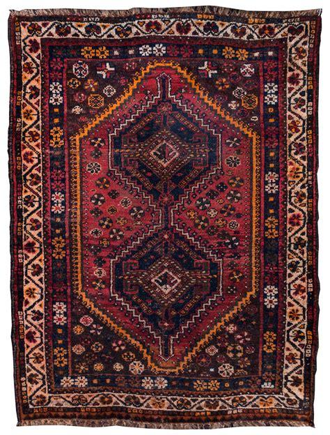 4 by 5 rug shiraz tribal geometric made rug vintage 4 by 5