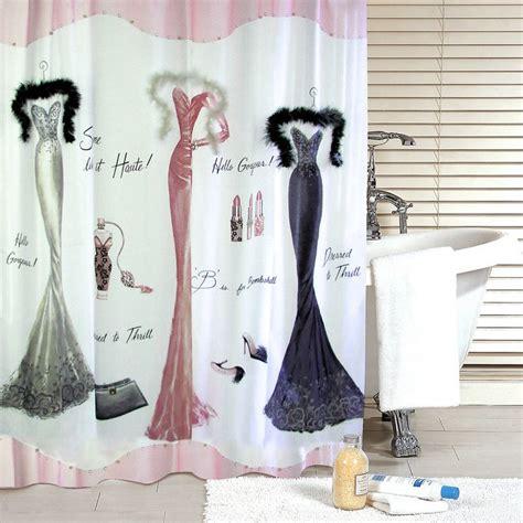 dressed to thrill shower curtain aquarius bath fashions dressed to thrill vintage bath