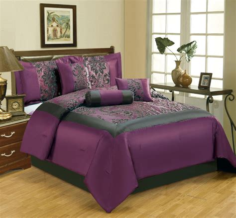 Purple Bedding Sets King Purple And Black Bedding Set With Floral Pattern On The Middle Placed On The Brown Wooden
