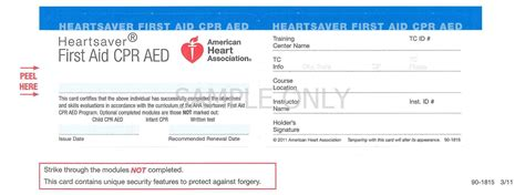 heartsaver aid cpr aed card template products m and m enterprises