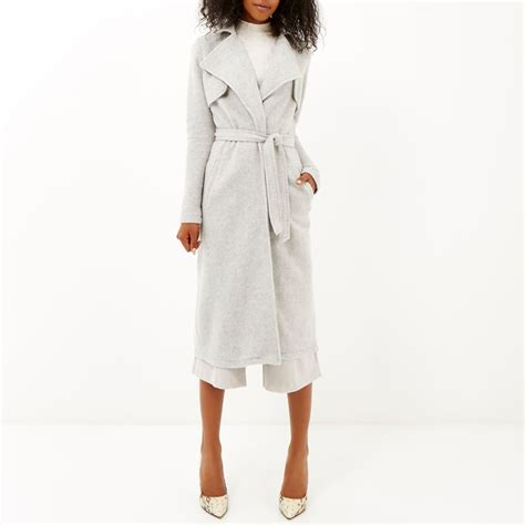 Island Trenchcoat by River Island Light Grey Longline Trench Coat In Gray Lyst