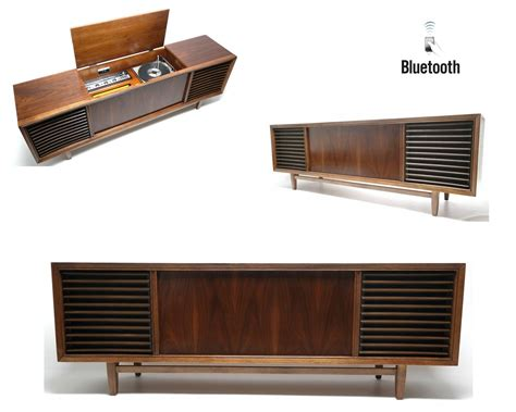 mid century stereo cabinet mid century modern philco stereo console w bluetooth