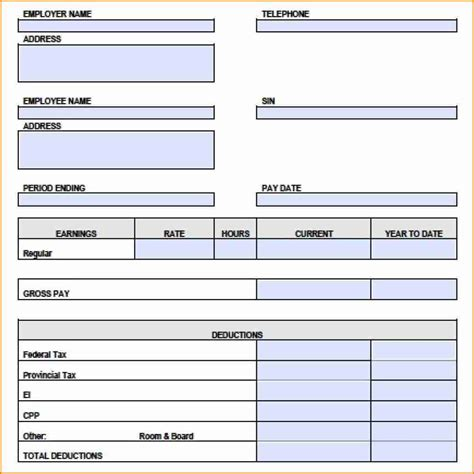 7 canadian pay stub template excel simple salary slip
