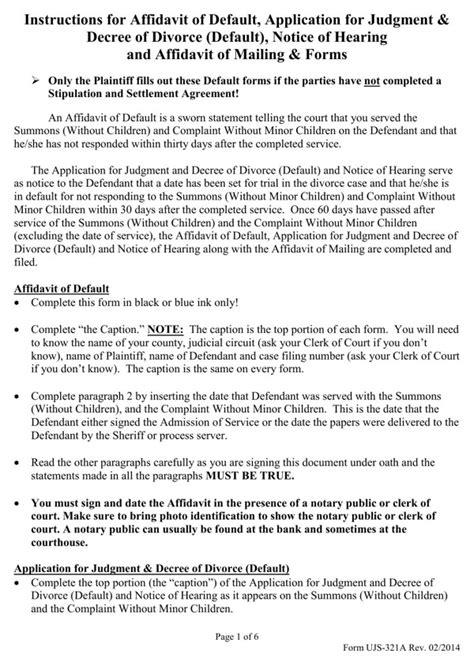 Divorce Affidavit Letter south dakota affidavit of default application