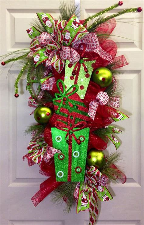 whimsical christmas pine door swag whimsical christmas