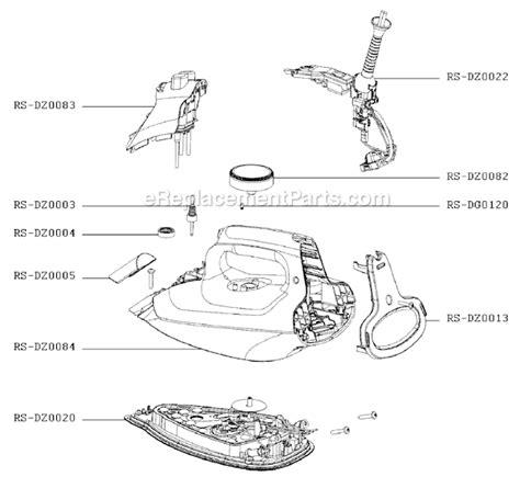 rowenta iron parts diagram rowenta dz5080u2 parts list and diagram